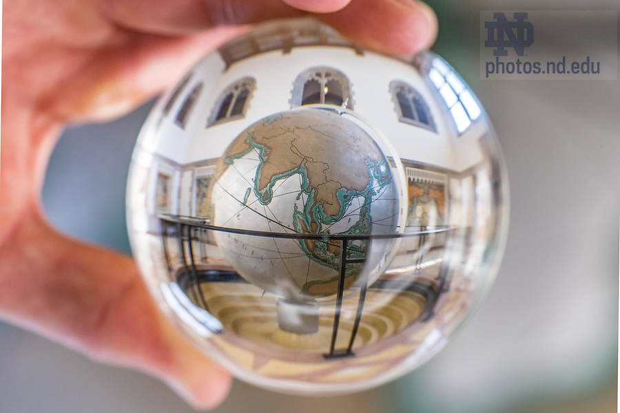 December 10, 2017; Hurley globe refracted in a crystal ball.  7 of 12 (Photo by Matt Cashore/University of Notre Dame)
