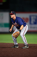 Danville Braves second baseman Greg Cullen (9) during a game against the Johnson City Cardinals on July 28, 2018 at TVA Credit Union Ballpark in Johnson City, Tennessee.  Danville defeated Johnson City 7-4.  (Mike Janes/Four Seam Images)