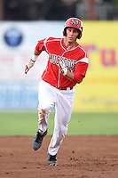 Batavia Muckdogs first baseman Eric Fisher (33) running the bases during a game against the State College Spikes on July 3, 2014 at Dwyer Stadium in Batavia, New York.  State College defeated Batavia 7-1.  (Mike Janes/Four Seam Images)