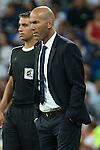 Real Madrid's coach Zinedine Zidane during the XXXVII Bernabeu trophy between Real Madrid and Stade de Reims at the Santiago Bernabeu Stadium. August 15, 2016. (ALTERPHOTOS/Rodrigo Jimenez)