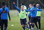 Rangers training- team celebrations with Martyn Waghorn