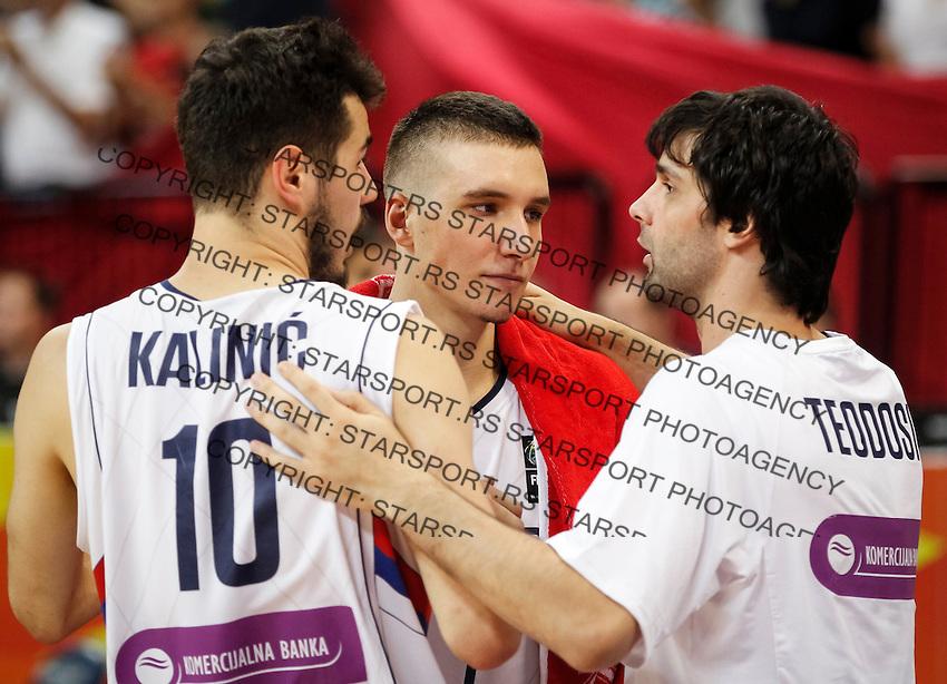 Kosarka FIBA Olympic Basketball Qualifying Tournament-FINAL<br /> Serbia v Puerto Rico<br /> from left Nikola Kalinic Bogdan Bogdanovic and Milos Teodosic<br /> Beograd, 09.07.2016.<br /> foto: Srdjan Stevanovic/Starsportphoto©