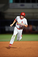 Palm Beach Cardinals second baseman Luke Dykstra (32) running the bases during a game against the Charlotte Stone Crabs on April 11, 2017 at Charlotte Sports Park in Port Charlotte, Florida.  Palm Beach defeated Charlotte 12-6.  (Mike Janes/Four Seam Images)
