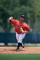 GCL Braves relief pitcher Ramon Taveras (46) delivers a pitch during a game against the GCL Pirates on July 27, 2017 at ESPN Wide World of Sports Complex in Kissimmee, Florida.  GCL Braves defeated the GCL Pirates 8-6.  (Mike Janes/Four Seam Images)