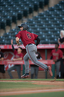 AZL Diamondbacks third baseman Joe Gillette (6) starts down the first base line after hitting a two-run home run during an Arizona League game against the AZL Angels at Tempe Diablo Stadium on June 27, 2018 in Tempe, Arizona. The AZL Angels defeated the AZL Diamondbacks 5-3. (Zachary Lucy/Four Seam Images)