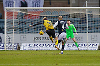 20th February 2021; Dens Park, Dundee, Scotland; Scottish Championship Football, Dundee FC versus Queen of the South; Willie Gibson of Queen of the South shoots and scores for 1-3 in the 78th minute