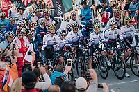Defending World Champion Peter Sagan (SVK/Bora-Hansgrohe) at the front on the startline in Kufstein<br /> <br /> MEN ELITE ROAD RACE<br /> Kufstein to Innsbruck: 258.5 km<br /> <br /> UCI 2018 Road World Championships<br /> Innsbruck - Tirol / Austria