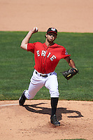 Erie Seawolves relief pitcher Adam Ravenelle (30) delivers a pitch during a game against the Altoona Curve on July 10, 2016 at Jerry Uht Park in Erie, Pennsylvania.  Altoona defeated Erie 7-3.  (Mike Janes/Four Seam Images)
