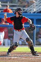 State College Spikes catcher Pat Irvine (22) during a game vs. the Batavia Muckdogs at Dwyer Stadium in Batavia, New York August 29, 2010.   Batavia defeated State College 6-4.  Photo By Mike Janes/Four Seam Images