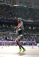 August 05, 2012: Ezekiel Kemboi celebrates victory in Men's 3000m Steeplechase at the Olympic Stadium on day nine of 2012 Olympic Games in London, United Kingdom..