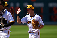 Bradenton Marauders second baseman Jase Bowen (2) high fives teammates after a game against the Palm Beach Cardinals on May 30, 2021 at LECOM Park in Bradenton, Florida.  (Mike Janes/Four Seam Images)