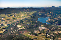 aerial photograph of Napa Valley from Lake Hennessey toward Calistoga and Mount St. Helena, Napa County, California