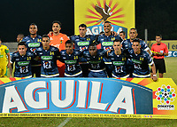 ITAGÜI - COLOMBIA, 30-07-2018: Los jugadores de Alianza Petrolera, posan para una foto, durante el partido entre Leones F.C. y Alianza Petrolera, de la fecha 2 por la Liga Águila II 2018, jugado en el Metropolitano Ciudad de Itagüi-Ditaires de la ciudad de Itagüi. / The players of Alianza Petrolera, pose for a photo, during match between Leones F.C. and Alianza Petrolera, of the 2nd date for the Aguila League II 2018, played at Metropolitano Ciudad de Itagüi-Ditaires stadium in Itagüi city. Photo: VizzorImage/ León Monsalve / Cont.