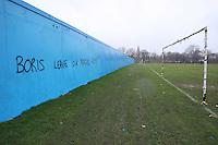 Graffiti is seen at East Marsh asking 'Boris [Johnson] leave our Marshes alone!' - Hackney & Leyton Sunday League Football at East Marsh, Hackney - 21/02/10 - MANDATORY CREDIT: Gavin Ellis/TGSPHOTO - Self billing applies where appropriate - Tel: 0845 094 6026