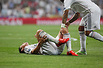 Real Madrid´s James Rodriguez gets injured during the Champions League semi final soccer match between Real Madrid and Juventus at Santiago Bernabeu stadium in Madrid, Spain. May 13, 2015. (ALTERPHOTOS/Victor Blanco)