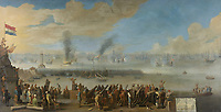 The Battle of Livorno, March 14, 1653, during the First Anglo-Dutch Naval War - by unknown artist; 1653-1660