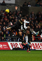 Wednesday, 01 January 2014<br /> Pictured: Wilfried Bony (R).<br /> Re: Barclay's Premier League, Swansea City FC v Manchester City at the Liberty Stadium, south Wales.