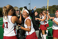 6 November 2007: Stanford Cardinal Chloe Bade (17), Madison Bell (second from left), Nora Soza (third from left), Alessandra Moss (third from right), Jennifer Luther (second from right), Katherine Donner during Stanford's 1-0 win against the Lock Haven Lady Eagles in an NCAA play-in game to advance to the NCAA tournament at the Varsity Field Hockey Turf in Stanford, CA.