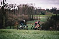 Mikayla Harvey (AUS/Bigla Katusha) and Arianna Fidanza (ITA/Lotto Soudal ladies)<br /> <br /> 75th Omloop Het Nieuwsblad 2020 (BEL)<br /> Women's Elite Race <br /> Gent – Ninove: 123km<br /> <br /> ©kramon
