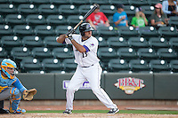 Nick Basto (23) of the Winston-Salem Dash at bat against the Myrtle Beach Pelicans at BB&T Ballpark on May 10, 2015 in Winston-Salem, North Carolina.  The Pelicans defeated the Dash 4-3.  (Brian Westerholt/Four Seam Images)