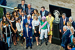 HALLANDALE BEACH, FL - JAN 28: Connections in the winner's circle at the trophy presentation after Arrogate #1, ridden by Mike Smith, won the $12,000,000 Pegasus World Cup Invitational the Pegasus World Cup Invitational Day at Gulfstream Park Race Course on January 28, 2017 in Hallandale Beach, Florida. (Photo by Scott Serio/Eclipse Sportswire/Getty Images)