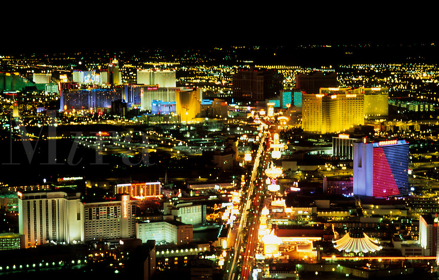 The strip from above, Las Vegas, Nevada at night, USA