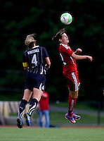 Cat Whitehill (4) of the Washington Freedom goes up for a header against Christine Sinclair (12) of Canada during a friendly at George Mason University in Fairfax, Va.  Canada tied the Washington Freedom, 3-3.