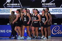 The NZ U21 team during the Cadbury Netball Series match between NZ A and NZ Under-21 at the Fly Palmy Arena in Palmerston North, New Zealand on Thursday, 22 October 2020. Photo: Dave Lintott / lintottphoto.co.nz