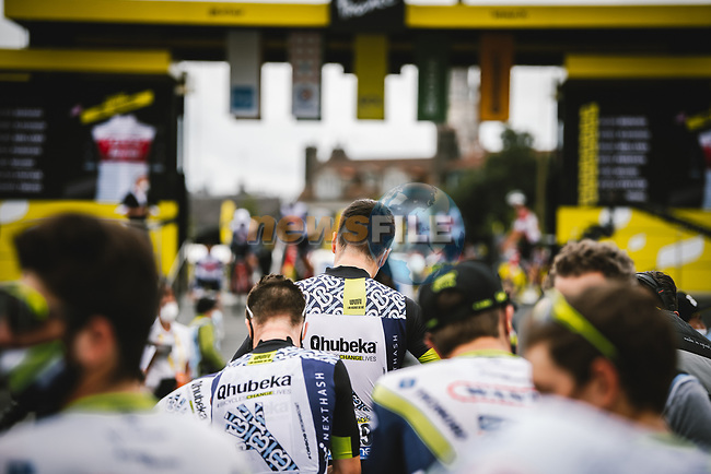 Team Qhubeka NextHash at sign on before Stage 18 of the 2021 Tour de France, running 129.7km from Pau to Luz Ardiden, France. 15th July 2021.  <br /> Picture: A.S.O./Pauline Ballet | Cyclefile<br /> <br /> All photos usage must carry mandatory copyright credit (© Cyclefile | A.S.O./Pauline Ballet)