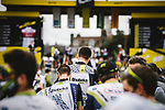 Team Qhubeka NextHash at sign on before Stage 18 of the 2021 Tour de France, running 129.7km from Pau to Luz Ardiden, France. 15th July 2021.  <br /> Picture: A.S.O./Pauline Ballet   Cyclefile<br /> <br /> All photos usage must carry mandatory copyright credit (© Cyclefile   A.S.O./Pauline Ballet)
