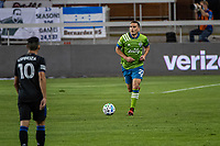 SAN JOSE, CA - OCTOBER 18: Shane O'Neill #27 of the Seattle Sounders dribbles the ball during a game between Seattle Sounders FC and San Jose Earthquakes at Earthquakes Stadium on October 18, 2020 in San Jose, California.