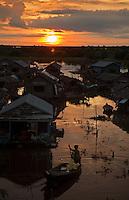 Sunrise and crossing the Tonle Sap Lake Cambodia