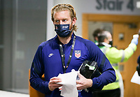 SWANSEA, WALES - NOVEMBER 12: Tim Ream #13 of the United States men's national team arrives at Liberty stadium before a game between Wales and USMNT at Liberty Stadium on November 12, 2020 in Swansea, Wales.