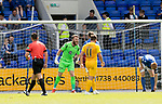 St Johnstone v Livingston….10.08.19      McDiarmid Park     SPFL <br />Zander Clark screams at his team mates in attmept to get them organised<br />Picture by Graeme Hart. <br />Copyright Perthshire Picture Agency<br />Tel: 01738 623350  Mobile: 07990 594431