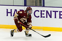 WORCESTER, MA - JANUARY 16: Hannah Bilka #19 of Boston College brings the puck forward during a game between Boston College and Holy Cross at Hart Center Rink on January 16, 2021 in Worcester, Massachusetts.