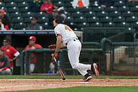 Oregon State Beavers pinch hitter Alex McGarry (44) hits a two-run single during a game against the New Mexico Lobos on February 15, 2019 at Surprise Stadium in Surprise, Arizona. Oregon State defeated New Mexico 6-5. (Zachary Lucy/Four Seam Images)