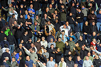 ATTENTION SPORTS PICTURE DESK<br /> Pictured: Cardiff City fans in action <br /> Re: Coca Cola Championship, Swansea City Football Club v Cardiff City FC at the Liberty Stadium, Swansea, south Wales. Saturday 07 November 2009