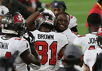 7th February 2021, Tampa Bay, Florida, USA;  Tampa Bay Buccaneers Wide Receiver Antonio Brown (81) celebrates after scoring a touchdown during Super Bowl LV between the Kansas City Chiefs and the Tampa Bay Buccaneers on February 07, 2021, at Raymond James Stadium
