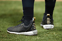 A closeup of the Bryce Harper Under Armour cleats worn by Brandon Bossard (2) of the Winston-Salem Dash during the game against the Greensboro Grasshoppers at Truist Stadium on August 11, 2021 in Winston-Salem, North Carolina. (Brian Westerholt/Four Seam Images)