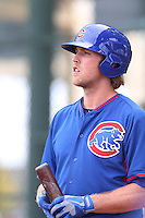 Lars Anderson of the Chicago Cubs during a Minor League Spring Training Game against the Los Angeles Angels at the Los Angeles Angels Spring Training Complex on March 23, 2014 in Tempe, Arizona. (Larry Goren/Four Seam Images)