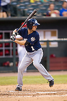 New Orleans Zephyrs shortstop Nick Green (1) at bat against the Memphis Redbirds in the Pacific Coast League baseball game on June 12, 2013 at Autozone Park in Memphis, Tennessee. Memphis defeated New Orleans 9-3. (Andrew Woolley/Four Seam Images)