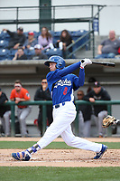 Garrett Hope (8) of the Rancho Cucamonga Quakes bats against the Inland Empire 66ers at LoanMart Field on May 7, 2017 in Rancho Cucamonga, California. Rancho Cucamonga defeated Inland Empire, 6-0. (Larry Goren/Four Seam Images)