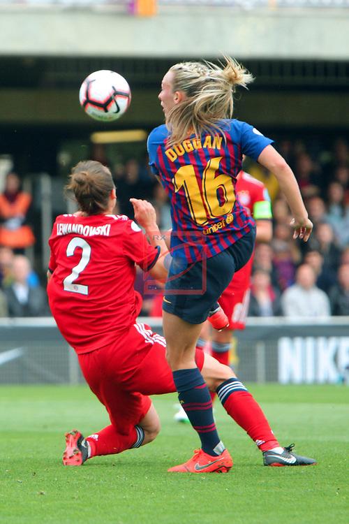 UEFA Women's Champions League 2018/2019.<br /> Semi Finals<br /> FC Barcelona vs FC Bayern Munchen: 1-0.<br /> Gina Lewandoski vs Toni Duggan.