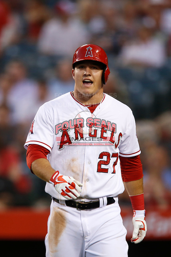 Mike Trout #27 of the Los Angeles Angels during a game against the Baltimore Orioles at Angel Stadium on May 2, 2013 in Anaheim, California. Baltimore defeated Los Angeles 5-1. (Larry Goren/Four Seam Images)