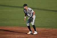 Augusta GreenJackets shortstop Cam Shepherd (7) on defense against the Charleston Boiled Peanuts at Joseph P. Riley, Jr. Park on June 26, 2021 in Charleston, South Carolina. (Brian Westerholt/Four Seam Images)