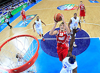 Rusian national basketball team player Andrei Kirilenko scores during semifinal basketball game between France and Russia in Kaunas, Lithuania, Eurobasket 2011, Friday, September 16, 2011. (photo: Pedja Milosavljevic)