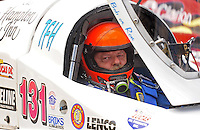 Jul. 19, 2009; Augusta, GA, USA; IHBA top fuel hydro driver Ron McLellan sits in his boat prior to racing during the Augusta Southern Nationals on the Savannah River. Mandatory Credit: Mark J. Rebilas-
