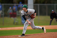 Dartmouth Big Green pitcher Jack Metzger (29) during a game against the Indiana State Sycamores on February 21, 2020 at North Charlotte Regional Park in Port Charlotte, Florida.  Indiana State defeated Dartmouth 1-0.  (Mike Janes/Four Seam Images)