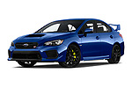 Stock pictures of low aggressive front three quarter view of a 2019 Subaru WRX STI Base 4 Door Sedan