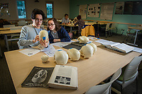 Students Ikaika Wiseman and Christina Elmore learn to identify features of the human skull using models during Professor Ryan Harrod's Biological Anthropology Lab (ANTH A205L) in UAA's Beatrice McDonald Hall.